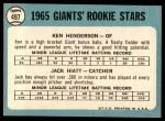 1965 Topps #497   -  Ken Henderson / Jack Hiatt Giants Rookies Back Thumbnail