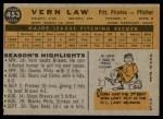 1960 Topps #453  Vern Law  Back Thumbnail