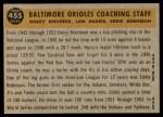 1960 Topps #455   -  Eddie Robinson / Harry Brecheen / Luman Harris Orioles Coaches Back Thumbnail