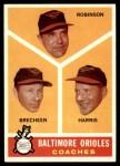 1960 Topps #455   -  Eddie Robinson / Harry Brecheen / Luman Harris Orioles Coaches Front Thumbnail