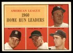 1961 Topps #44   -  Mickey Mantle / Roger Maris / Rocky Colavito / Jim Lemon AL HR Leaders Front Thumbnail