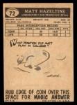 1959 Topps #72  Matt Hazeltine  Back Thumbnail