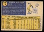 1970 Topps #118  George Mitterwald  Back Thumbnail