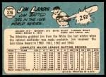 1965 Topps #376  Jim Landis  Back Thumbnail