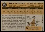 1960 Topps #447  Ray Moore  Back Thumbnail