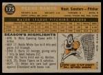 1960 Topps #175  Pedro Ramos  Back Thumbnail