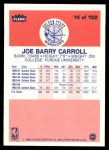 1986 Fleer #14  Joe Barry Carroll  Back Thumbnail