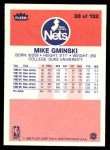 1986 Fleer #38  Mike Gminski  Back Thumbnail