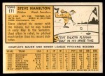 1963 Topps #171  Steve Hamilton  Back Thumbnail