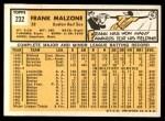 1963 Topps #232  Frank Malzone  Back Thumbnail