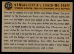 1960 Topps #462   -  Fred Fitzsimmons / Don Heffner / Walker Cooper A's Coaches Back Thumbnail