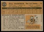 1960 Topps #370  Bill Skowron  Back Thumbnail