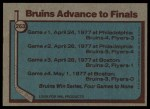 1977 Topps #263   Stanley Cup Semi-Finals - Bruins Advance to Finals Back Thumbnail