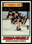 1977 Topps #263   Stanley Cup Semi-Finals - Bruins Advance to Finals Front Thumbnail