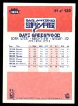 1986 Fleer #41  David Greenwood  Back Thumbnail