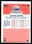 1986 Fleer #64  Alton Lister  Back Thumbnail