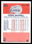 1986 Fleer #70  Cedric Maxwell  Back Thumbnail