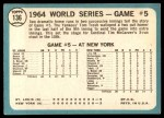 1965 Topps #136   -  Tim McCarver / Bill White / Dick Groat / Mike Shannon 1964 World Series - Game #5 - 10th Inning Triumph Back Thumbnail