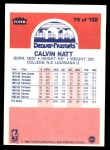 1986 Fleer #79  Calvin Natt  Back Thumbnail