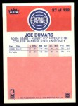 1986 Fleer #27  Joe Dumars  Back Thumbnail