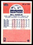 1986 Fleer #43  Bill Hanzlik  Back Thumbnail