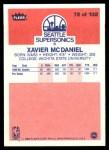 1986 Fleer #72  Xavier McDaniel  Back Thumbnail