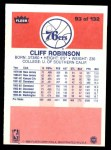 1986 Fleer #93  Cliff Robinson  Back Thumbnail