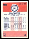 1986 Fleer #119  Bill Walton  Back Thumbnail