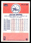 1986 Fleer #31  Julius Erving  Back Thumbnail