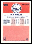 1986 Fleer #46  Roy Hinson  Back Thumbnail
