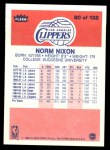 1986 Fleer #80  Norm Nixon  Back Thumbnail