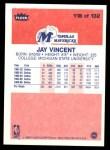 1986 Fleer #118  Jay Vincent  Back Thumbnail