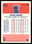 1986 Fleer #2  Alvan Adams  Back Thumbnail