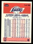 1986 Fleer #1  Kareem Abdul-Jabbar  Back Thumbnail