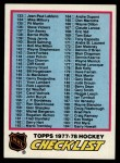 1977 Topps #249   Checklist 133-264 Front Thumbnail