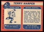 1968 Topps #57  Terry Harper  Back Thumbnail