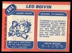 1968 Topps #101  Leo Boivin  Back Thumbnail