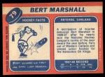 1968 Topps #79  Bert Marshall  Back Thumbnail