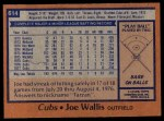 1978 Topps #614  Joe Wallis  Back Thumbnail