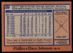 1978 Topps #317  Davey Johnson  Back Thumbnail