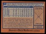 1978 Topps #75  Dick Ruthven  Back Thumbnail