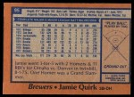 1978 Topps #95  Jamie Quirk  Back Thumbnail