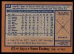 1978 Topps #344  Sam Ewing  Back Thumbnail