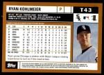 2002 Topps Traded #43 T Ryan Kohlmeier  Back Thumbnail