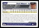 2004 Topps Traded #90 T Matt Macri  Back Thumbnail