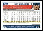 2004 Topps Traded #6 T Alex Gonzalez  Back Thumbnail