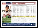 2005 Topps Update #36  Ryan Langerhans  Back Thumbnail
