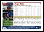 2005 Topps Update #34  Jorge Sosa  Back Thumbnail