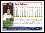 2005 Topps Update #42  Mark DeRosa  Back Thumbnail