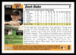 2005 Topps Update #38  Zach Duke  Back Thumbnail